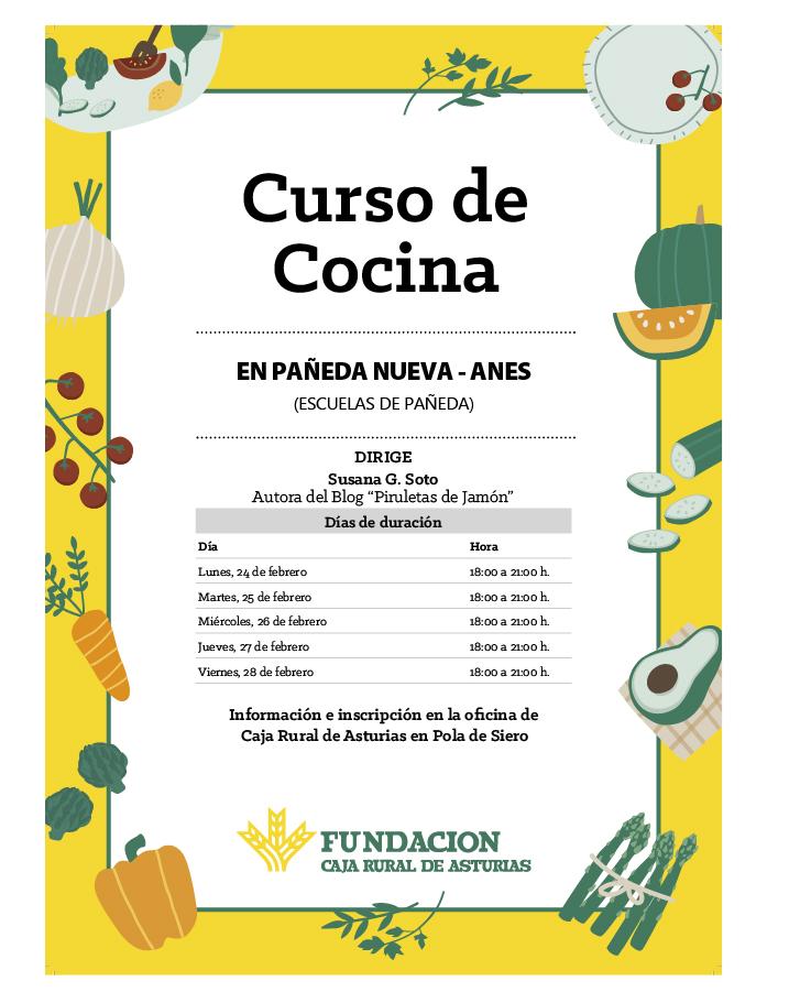 CARTEL CURSO DE COCINA EN PAÑEDA NUEVA - ANES 2020
